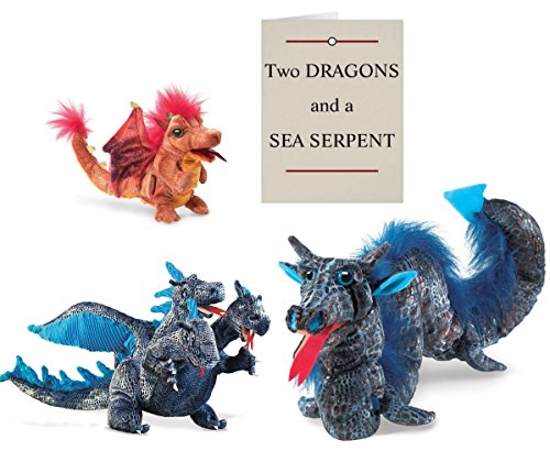 Folkmanis THREE-HEADED DRAGON, FIRE DRAGON, and SEA SERPENT Hand Puppets (Full Size) with Original Puppet Show Script (Headed Three Dragon Puppet)
