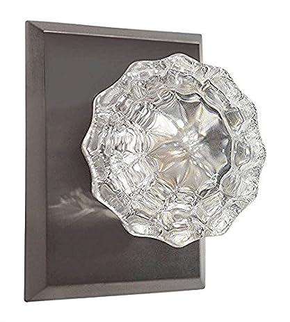 Regency fluted glass door knob with square rosettes in brushed regency fluted glass door knob with square rosettes in brushed nickel privacy bed bath planetlyrics Images