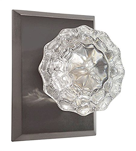 Octagon Glass Passage Door Knob (Regency Fluted Glass Door Knob with Square Rosettes in Brushed Nickel (Passage Hall / Closet))