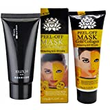 Black Mask Purifying Peeloff Mask Reviews Combo: Black & Gold Peel Off Mask - Gold Collagen Whitening Mask and Black Peel off Blackhead Remover Mask (1 of each) by One & Only USA