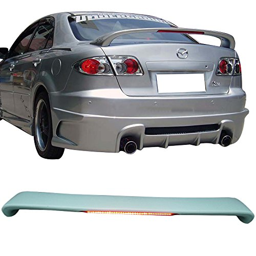 Trunk Spoiler Fits 2003-2008 Mazda 6 | OE Style ABS Unpainted Black With LED 3rd Brake Light Trunk Boot Lip Spoiler Wing Deck Lid By IKON MOTORSPORTS | 2004 2005 2006 2007