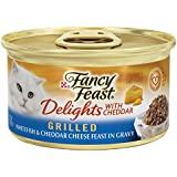 Fancy Feast Wet Cat Food, Delights with Cheddar, Grilled Whitefish & Cheddar Cheese Feast in Gravy, 3-Ounce Can, Pack of 24