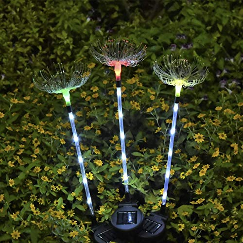 Outdoor Solar Garden Stake Lights - SOLARMKS 3 Pack Optic Fiber Solar Lights with Dandelion, Multi-Color Changing LED Solar Decorative Lights for Garden, Patio, Backyard (White)