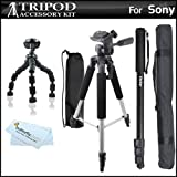 Triple Tripod Accessory Bundle Kit For Sony HDR-CX220 HDR-CX230 HDR-CX290 HDR-PJ230 HDR-CX380 HDR-PJ380 HDR-CX430V HDR-TD30V HDR-PJ650V HDR-PJ790V HD Camcorder Includes 57 Tripod + Monopod + More