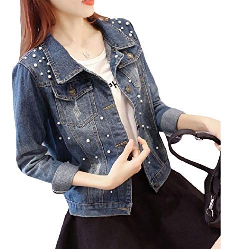 RomantcWomen Plus-Size Washed Buttons Beaded Jean Jacket Coat XL