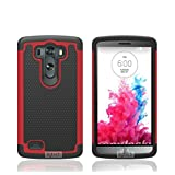 8gtech Red Heavy Duty Hybrid Hard Silicone Case Cover For LG G3 D850 D855