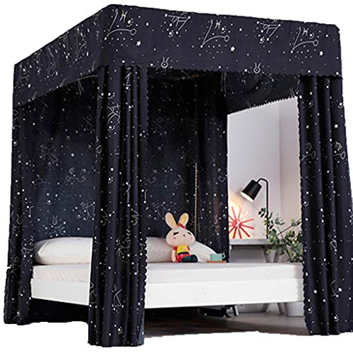 Obokidly Princess 4 Corner Post Bed Curtain Canopy;Windproof Lightproof Bed Canopy Mosquito Net Bedroom Decoration for Adults Girls Bed Canopies Child Gift (Black-Star, Queen) ()