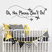 BATTOO Airplane Wall Decal - Oh the places you'll go - Nursery Wall Decal Quote - Airplane - Pilot Wall Decal - Boy Wall Sticker Girl Decor(Black, 50  WX19.5 H)