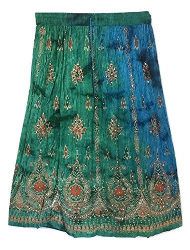 Femme colore Femmes Indian Boho Hippie Gypsy Sequin Summer Sundress Maxi Belly Dance Skirt S10