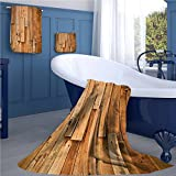 familytaste Wooden Bath towel 938D digital printing set Lodge Style Teak Hardwood Wall Planks Image Print Farmhouse Vintage Grunge Design Artsy bathroom hand towels set Brown