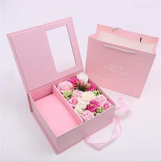 ASDFGH Sorpresa Caja de jabón de la Flor de la Caja de Regalo del tirón de San Valentín Flor de la simulación del Regalo de cumpleaños Regalo (Color : Pink): Amazon.es: Hogar