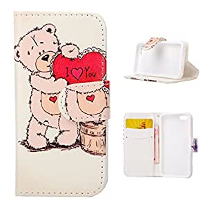 For iphone 5C , ivencase Cute Bear Pattern Magnetic Wallet PU Leather Texture With Built-in Media Stand and Credit Card Slots Closure Flip Protective Case Cover for Apple iphone 5C