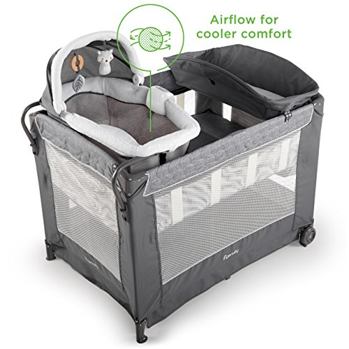 Ingenuity DreamComfort Smart and Simple Packable Portable Playard with Changing Table – Connolly