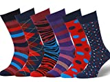 Easton Marlowe Mens - 6 PACK - Colorful Patterned Dress socks - 6pk #10, mixed - neutral main colors, 43-46 EU shoe size