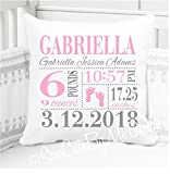 Sew Cute by Me Designs Original Birth Announcement Pillow for Baby Girls Nursery - Footprints - Includes Personalized Pillowcase and Pillow Insert 14''x14'' or 16''x16''