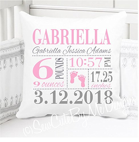Sew Cute by Me Designs Original Birth Announcement Pillow for Baby Girls Nursery - Footprints - Includes Personalized Pillowcase and Pillow Insert 14''x14'' or 16''x16'' by Sew Cute by Me Designs