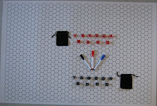 Double-Sided Game Mat and 2 Sets of 10 Dice, with Markers (Square, Hex, 24