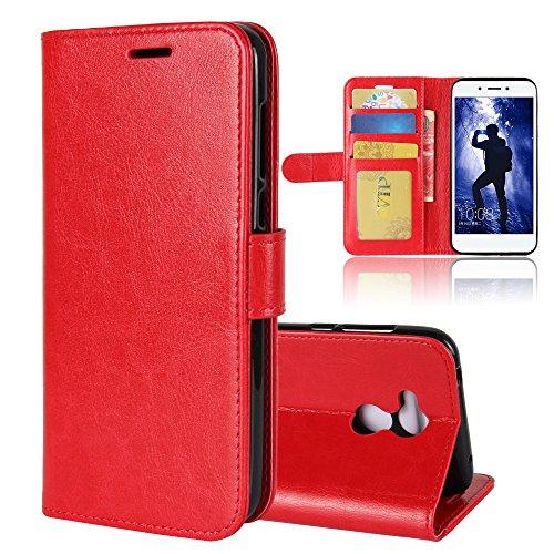 La cubierta de la caja de la cartera del teléfono para Huawei honor 6A. GOGME Huawei honor 6A Flip Funda Funda para Teléfono, Premium PU Cartera de Cuero Conector para Celular, Celular Skin Poche Magn rojo