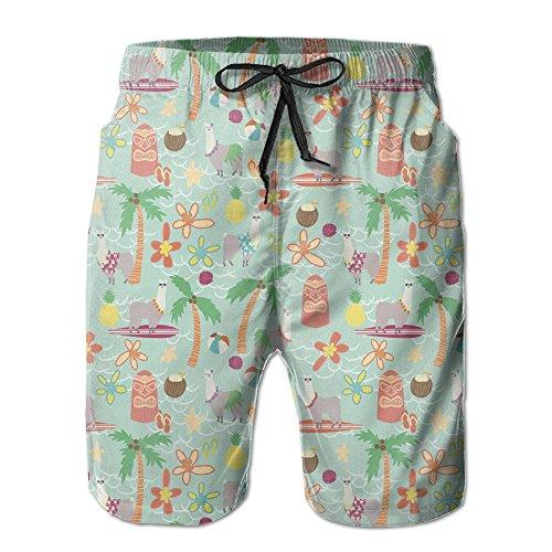 Game Life Shorts Hainan Alpaca Mens Tree Quick Dry Swim Trunks Beach Shorts With Mesh Lining (Sea Set Short Life)