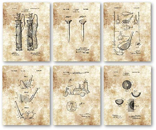 (Ramini Brands Original Golf Patent Artwork Drawings - Set of 6 8 x 10 Unframed Prints - Great Gift for Golfers and Caddies)