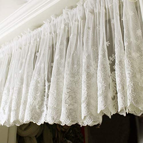 """Romantic~Rustic Ruffled Window Curtain Valance Cafe Curtain~Ivory White~17/"""" High"""