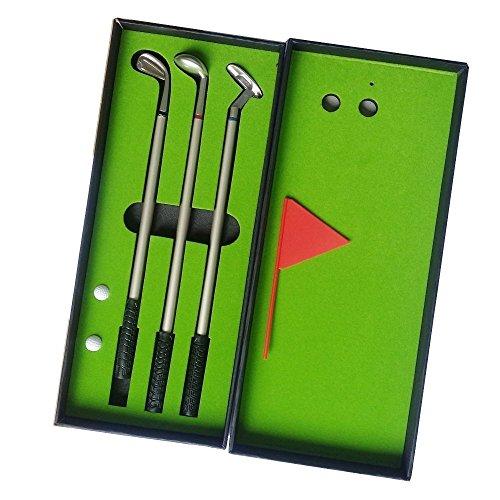 Seadream Golf Gift Set,Desktop GOLF PEN Set Including Putting Green, 3 Golf Club Pens & Balls