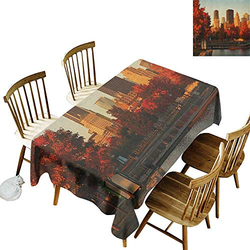 Grid Rectangle Tablecloth W52 x L70 City Old Port of Montreal Early in The Morning Scenic Autumn Trees Buildings Canada Red Orange Brown Suitable for Home Coffee Bar Party Wedding & More ()