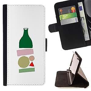 BullDog Case - FOR/LG OPTIMUS L90 / - / bottle minimalist modern art white /- Monedero de cuero de la PU Llevar cubierta de la caja con el ID Credit Card Slots Flip funda de cuer
