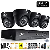 Home Security Camera Systems, BNT 4Channel Surveillance DVR, 4x720P HD Indoor CCTV Video Dome Cameras, Night Vision, Remote Access(Android/IOS), Motion Detection, No Hard Drive