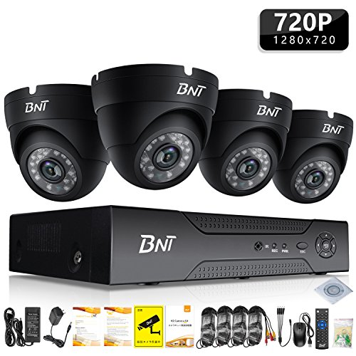 Home Security Camera Systems, BNT 4Channel Surveillance DVR, 4x720P HD Indoor CCTV Video Dome Cameras, Night Vision, Remote Access(Android/IOS), Motion Detection, No Hard Drive by BNT