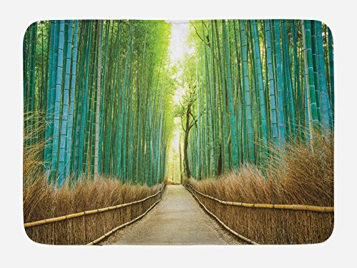 Lunarable Bamboo Forest Bath Mat by, Panoramic View of Historic Landscape Nature Park in Japan, Plush Bathroom Decor Mat with Non Slip Backing, 29.5 W X 17.5 W Inches, Turquoise Pale Brown Green