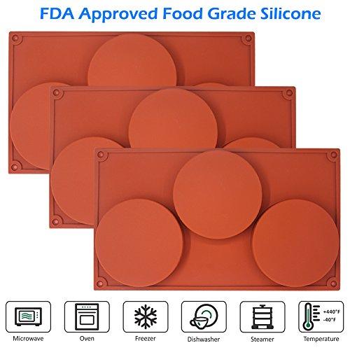 Moldes de silicona antiadherente, 3 unidades con 3 discos redondos ...