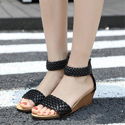 Plage tressage Fanessy Femme Casuel Chaussure Chic Style Sandales Noir Mode Toe en Appartement de d'été Compensés Hauts Talons Manuel Bohême RprR6gwq