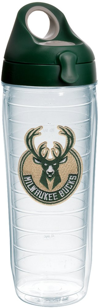 Tervis 1232329 NBA Milwaukee Bucks Primary Logo Tumbler with Emblem and Hunter Green with Gray Lid 24oz Water Bottle, Clear by Tervis