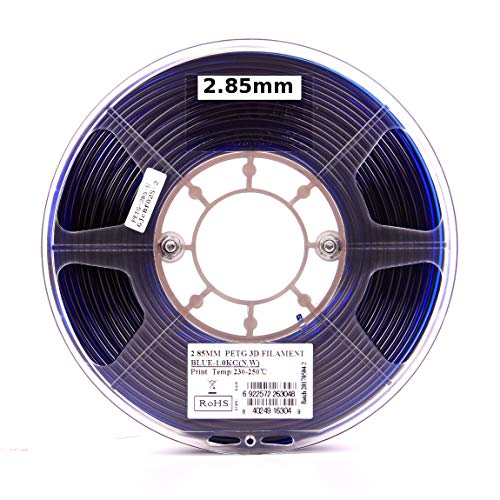 eSUN 3D 3mm PETG Blue Filament 1kg (2.2lb), PETG 3D Printer Filament, Diámetro real 2.85mm +/- 0.05mm, Azul semitransparente