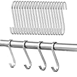 20 PCS IPOW Larger 4-inches Kitchen Tools Flat S Shaped Hooks Brushed Stainless Steel Metal Kitchen Pot Pan Hanger Storage Hanging Rack
