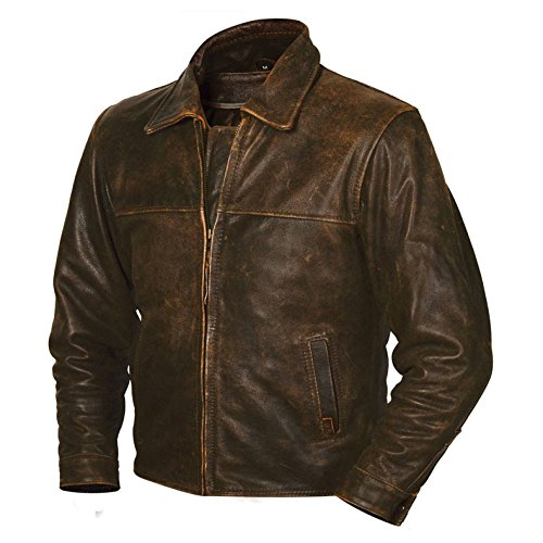 STS Ranchwear Men's The Rifleman Leather Jacket (Rustic Rawhide Brown, Medium) Rawhide Trim