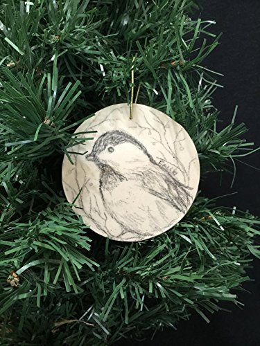 chickadee bird, black capped, hand drawn ceramic ornament