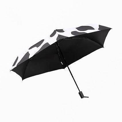 BiuTeFang Paraguas Paraguas vinilo paraguas plegable paraguas de sol de protección UV pequeño paraguas negro luz