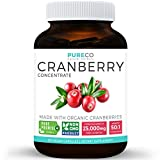 Organic Cranberry Concentrate - 25,000mg of Fresh Cranberries (Equivalent) For Kidney Cleanse & Urinary Tract Health - UTI Support Vitamins - Fruit 50