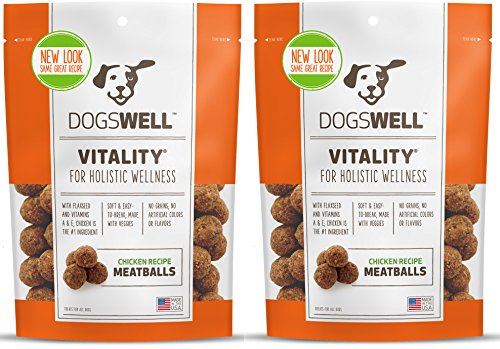 DOGSWELL VITALITY CHICKEN MEATBALLS 15 OUNCE NATURAL HEALTHY MADE IN USA (2 BAGS) -