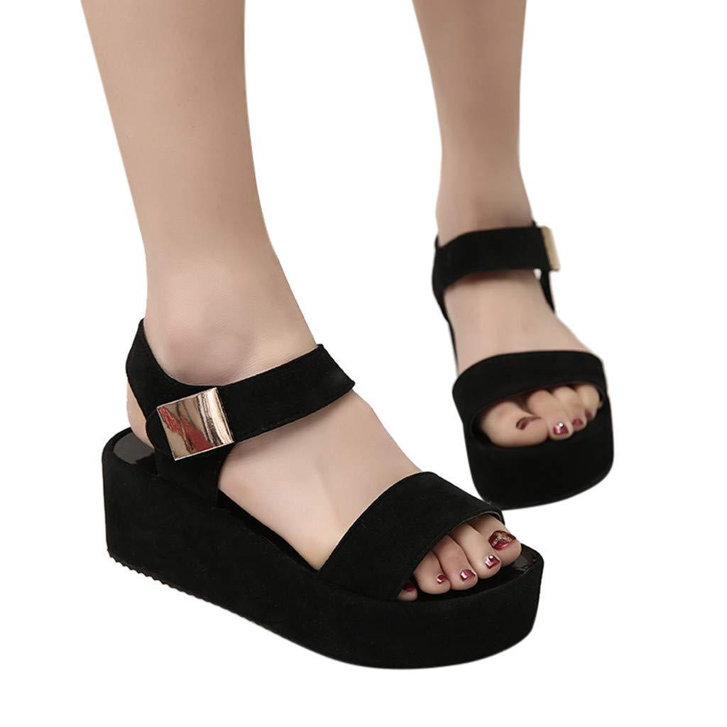 Manadlian Sandalias Mujer Verano 2019, Sandalias De Mujer Zapatos De Mujer Fashioh Platform Verano Só lido Peep Toe Sandalias De Cuñ a Casuales para Mujer