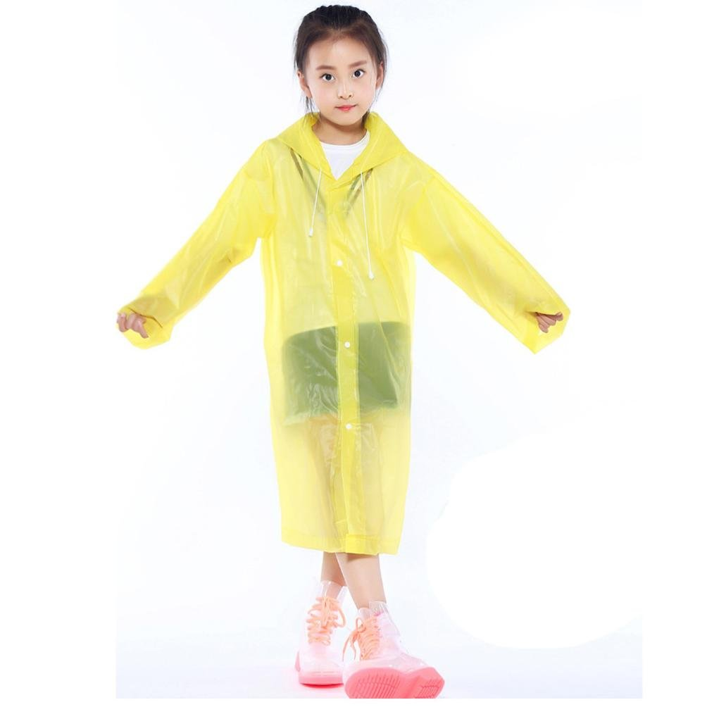 Tpingfe Portable Reusable Raincoats Children Rain Ponchos For 6-12 Years Old, 1PC (Yellow)