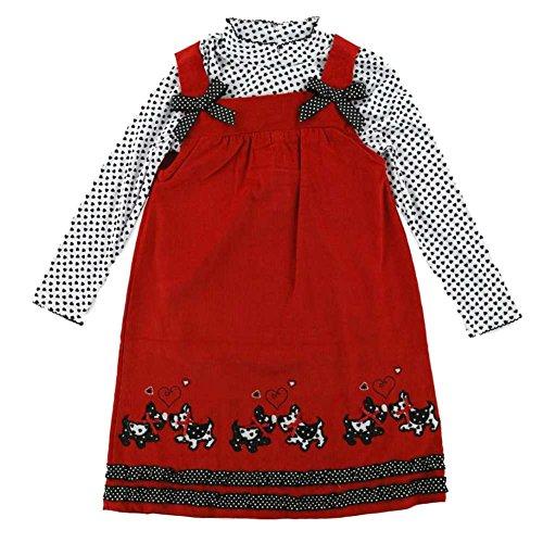 Scottie Dog Jumper Dress - Nannette Girls Scottie Dog 2 PC Dress Set Corduroy Jumper & Long Sleeve Shirt 5