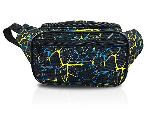 Retro Magic Colors Crackle Style Fanny Pack Waist Bag (Magic Yellow Blue)