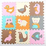 Jcdlits@ Puzzle Play Mat Jigsaw with Borders Kids Multi-Color Safe Baby Playground Soft Padded Floor Protection EVA Foam Interlocking Tiles Non-Toxic (10pcs) (style2)