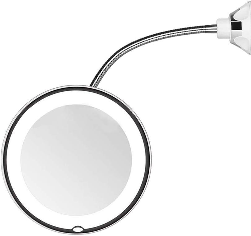 Cdrox 10X di ingrandimento Trucco Flessibile Specchio LED Illuminato a Collo di Cigno Ventosa Rotazione di 360 Gradi Specchio
