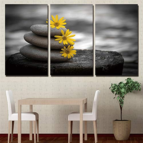 WSNDG HD Stone Yellow Flower Triple Hanging Painting Home Decoration Canvas Painting Without Picture Frame B3 35cm60cm3 (no Frame) (Bedroom Furniture Haynes)