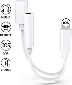 Headphone Adapter for iPhone 11 Adapter Aux Audio to 3.5mm 2 in 1 Jack Cables Dongle for iPhone 7 Earphone Splitter Adapter for iPhone 8 P/X/XR/Xs Music and Charging Compatible Support All iOS -White