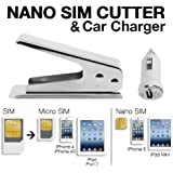 Techno Earth® Nano Sim Cutter for Iphone 5 Ipad Mini Simcard Cutter Cut Any GSM Sim Into Nano or Any Micro Sim Into Nano Sim + Car Charger for USB Devices